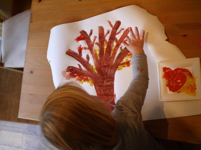 autumn sensory fingerprint leaf painting