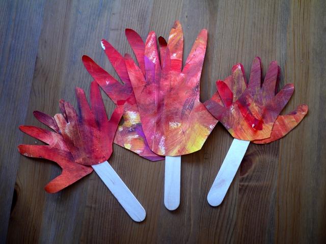 autumn sensory handprint trees