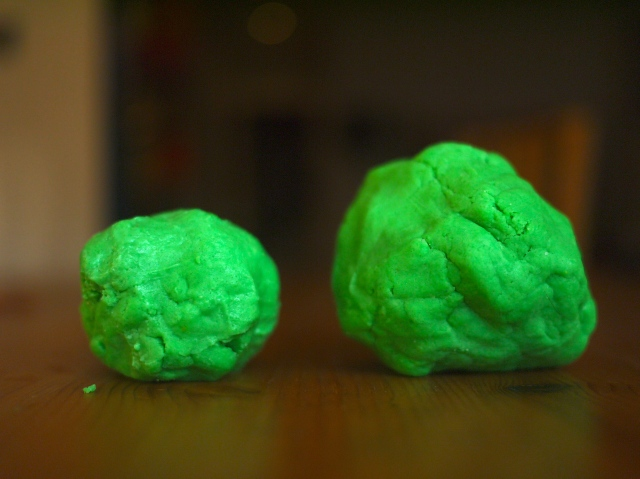 green homemade play dough