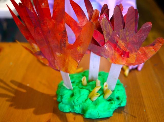 autumn sensory handprint forest